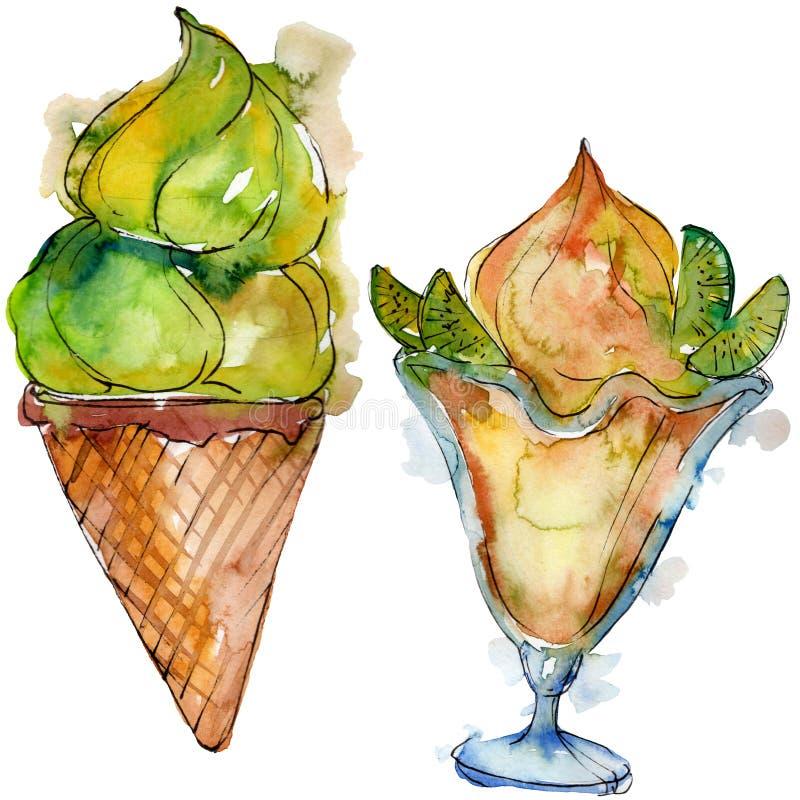 Helado sabroso en un estilo de la acuarela Sistema dulce del ejemplo del postre de la acuarela Elemento aislado del fondo de los  libre illustration