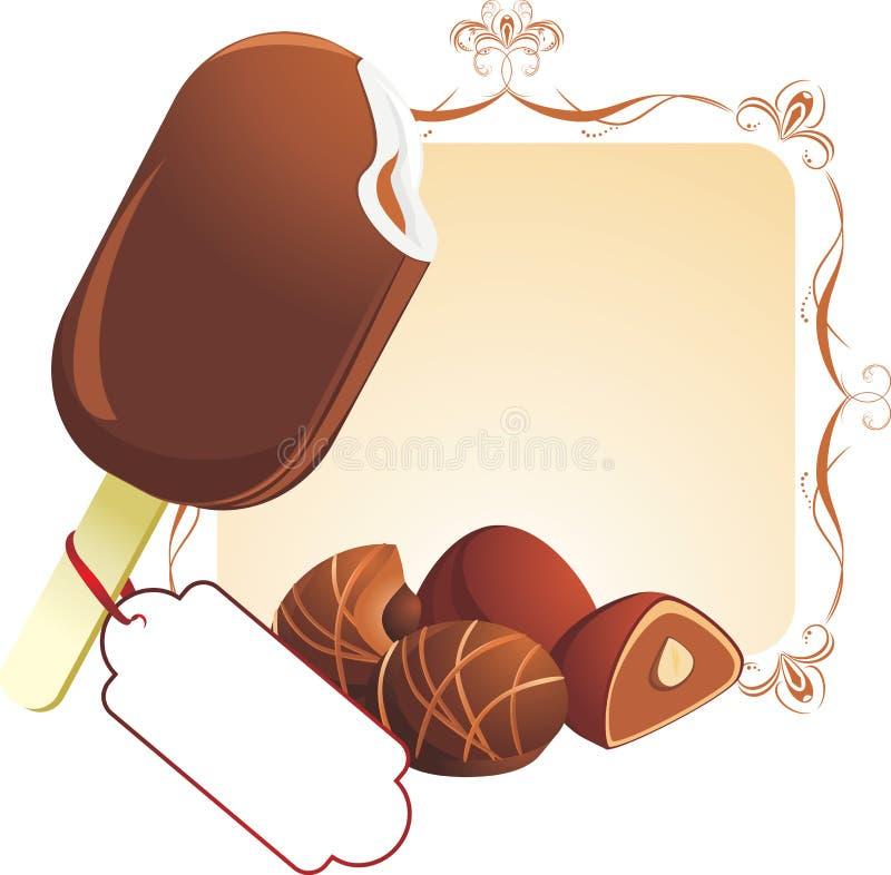 Helado y caramelos de chocolate ilustración del vector