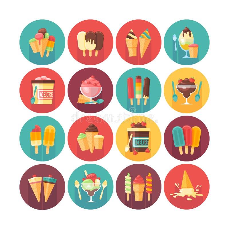 Helado y colección del icono de los postres congelados y de los dulces r Comida y bebidas libre illustration