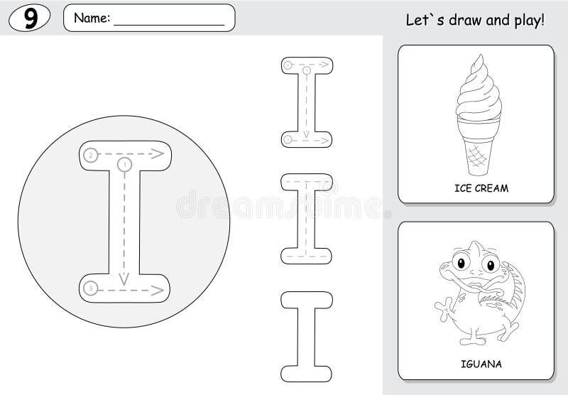 Helado y iguana de la historieta Hoja de trabajo de trazado del alfabeto: writin libre illustration