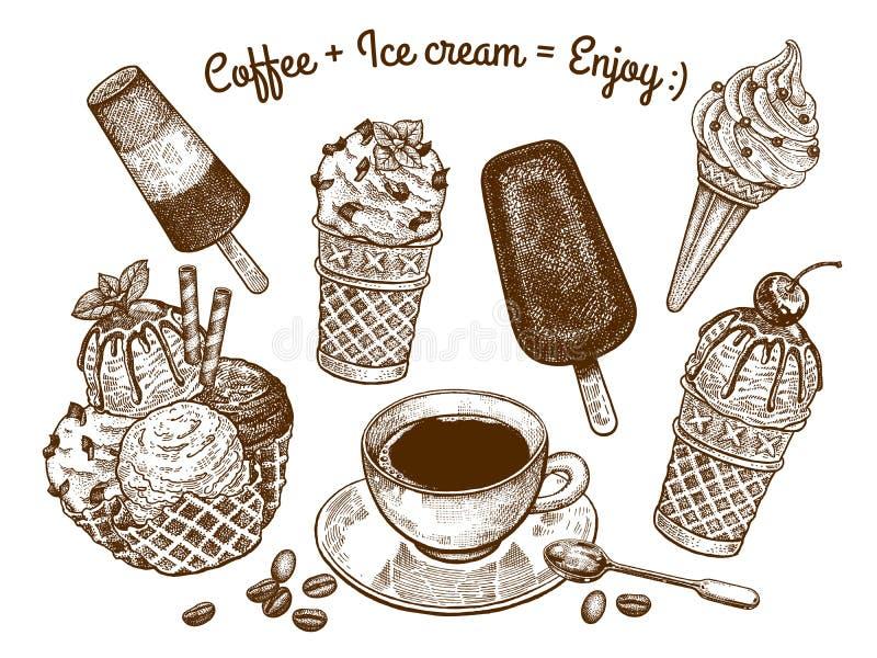 Helado y una taza de café ilustración del vector