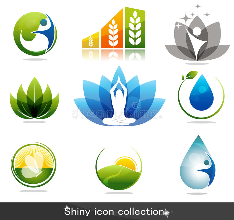 Helath care symbols. Beautiful nature and health care symbol collection royalty free illustration