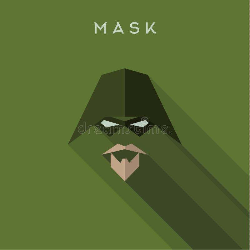 Held, flache Art Superheld Maske, Vektor lizenzfreie abbildung