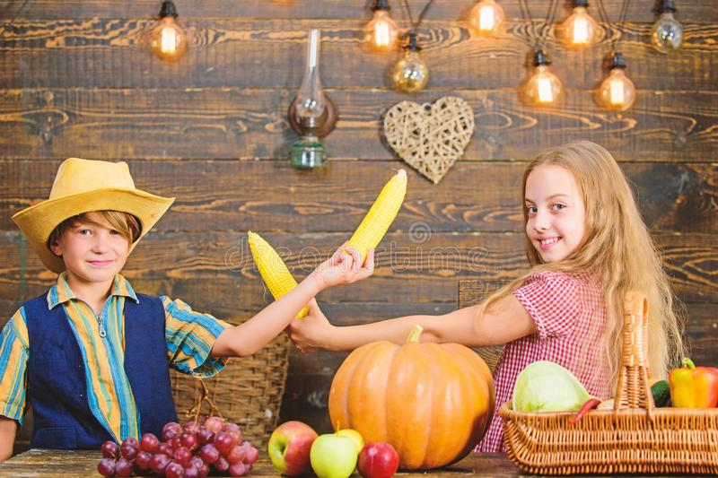 Held responsible for daily farm chores. Kids farmers girl boy vegetables harvest. Children presenting farm harvest. Wooden background. Family farm. Reasons why stock image