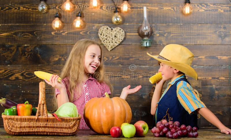 Held responsible for daily farm chores. Kids farmers girl boy vegetables harvest. Family farm. Children presenting farm. Harvest wooden background. Reasons why stock photography