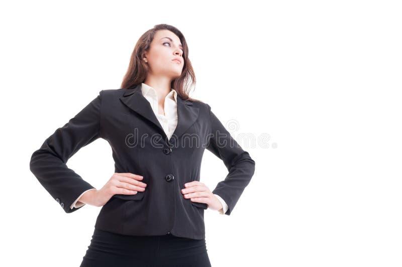 Held schoss von der jungen sexy erfolgreichen und starken Geschäftsfrau stockfoto