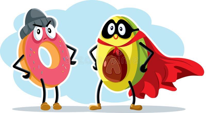Held-Superlebensmittel-Avocado und Schuft-Donut lizenzfreie abbildung