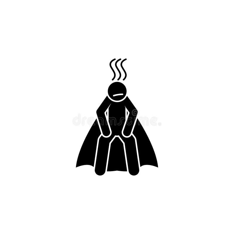 held, uitgeput pictogram Element van superheropictogram voor mobiele concept en webtoepassingen De gedetailleerde held, uitgeput  stock illustratie