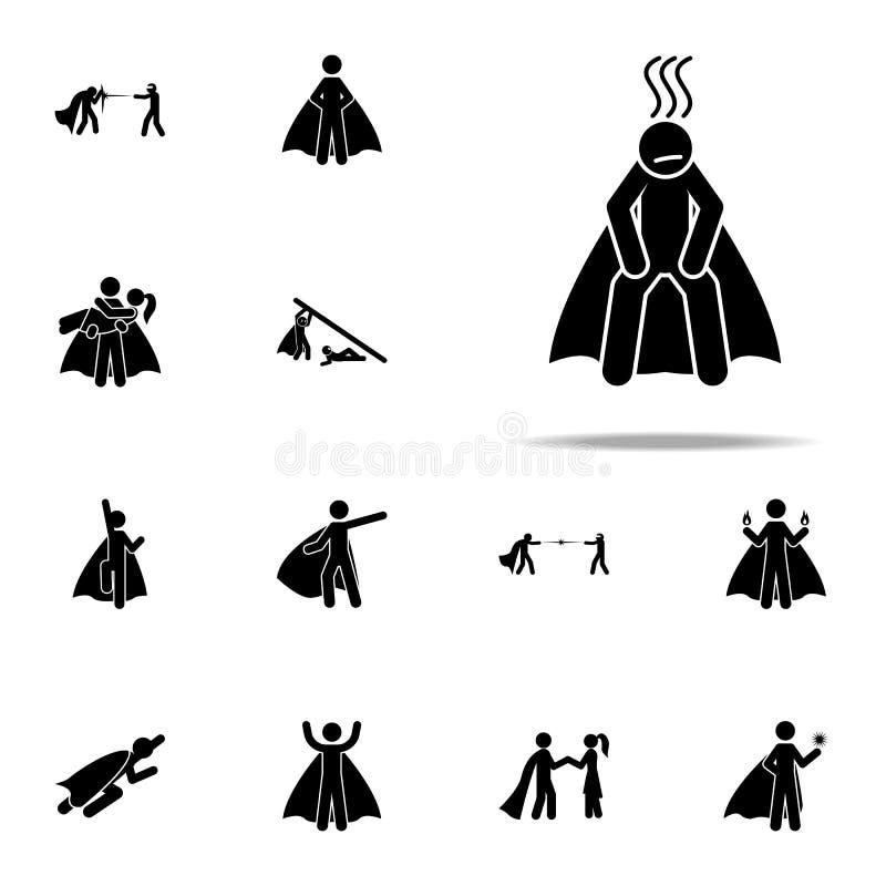 held, uitgeput pictogram voor Web wordt geplaatst dat en het mobiele algemene begrip van heldenpictogrammen stock illustratie