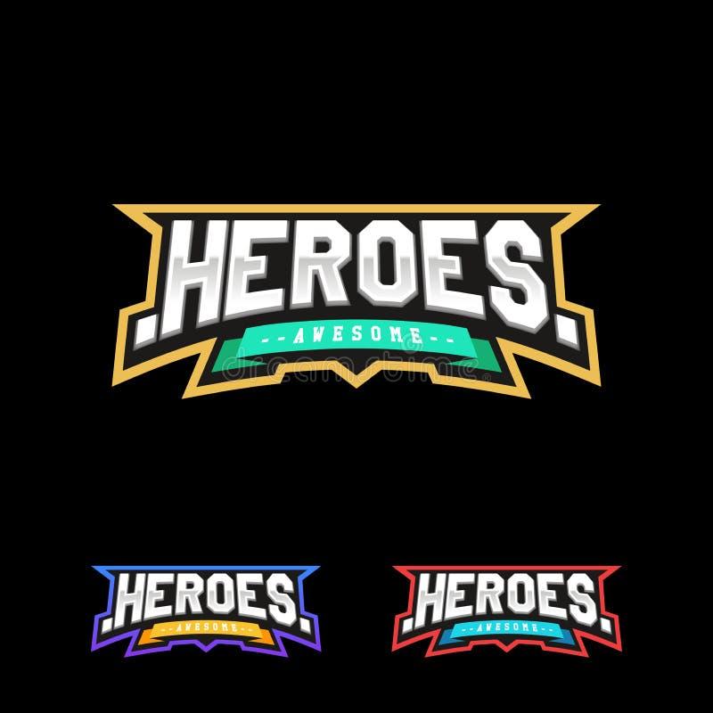 Helden of Superhero-het embleem van de sporttekst royalty-vrije illustratie
