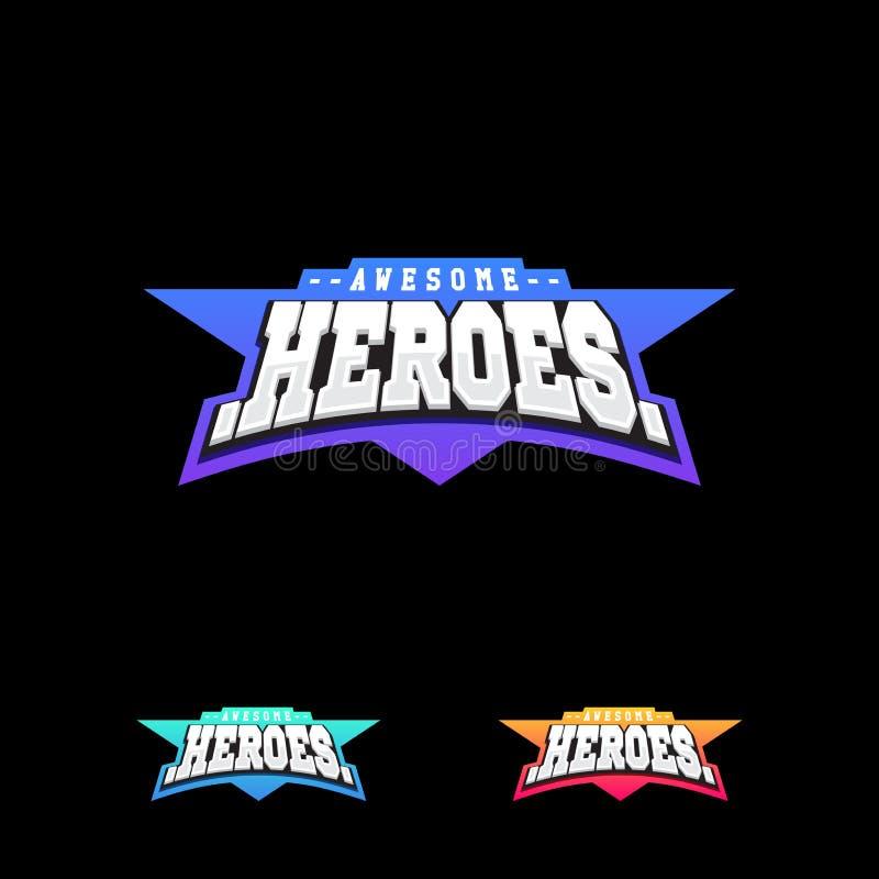 Helden of Superhero-het embleem van de sporttekst vector illustratie