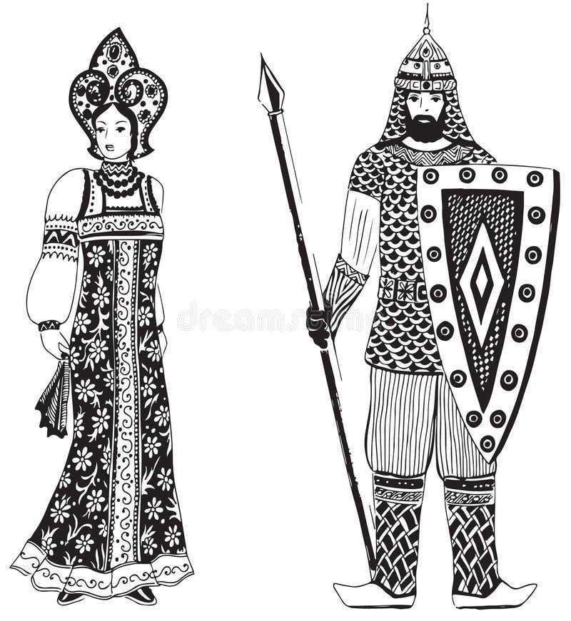 Helden van de Russische legenden stock illustratie