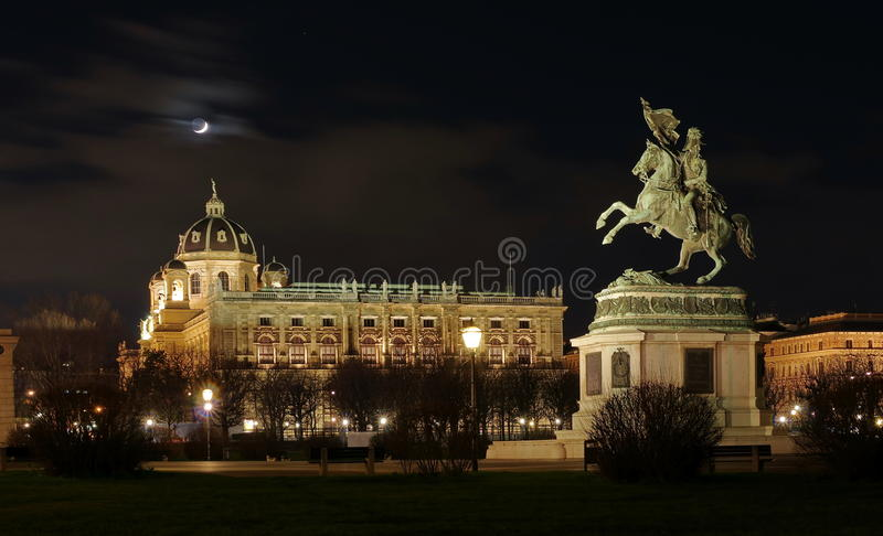 Heldenplatz (Heroes Square) and Museum of Natural History, at night - landmark attraction in Vienna, Austria. Heldenplatz (Heroes Square) stock photo