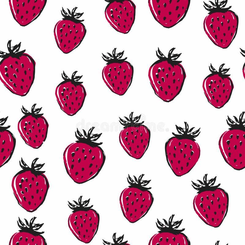 Helder aardbei naadloos patroon De zomervoedsel vector illustratie