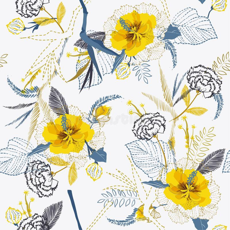 In Helder Artistiek tropisch vers geel bloempatroon op s vector illustratie