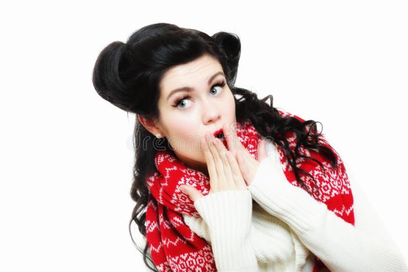 Helder beeld van verrast vrouwengezicht over wit royalty-vrije stock foto