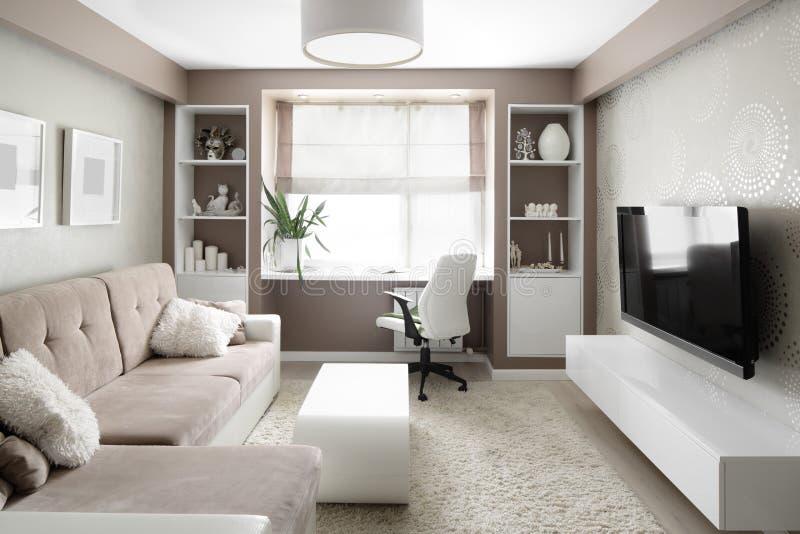 Helder binnenland van woonkamer stock fotografie