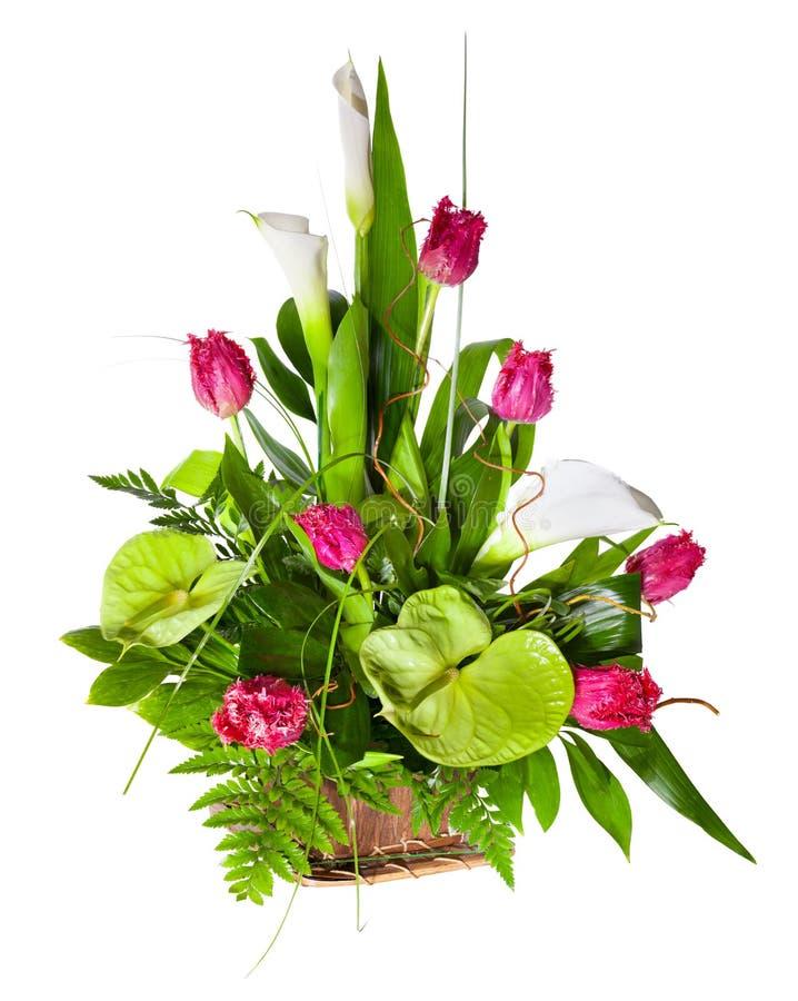Helder bloemboeket in mand royalty-vrije stock foto