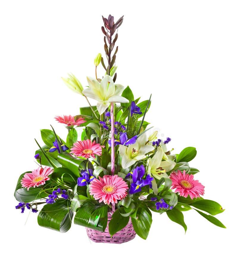 Helder bloemboeket in mand stock fotografie