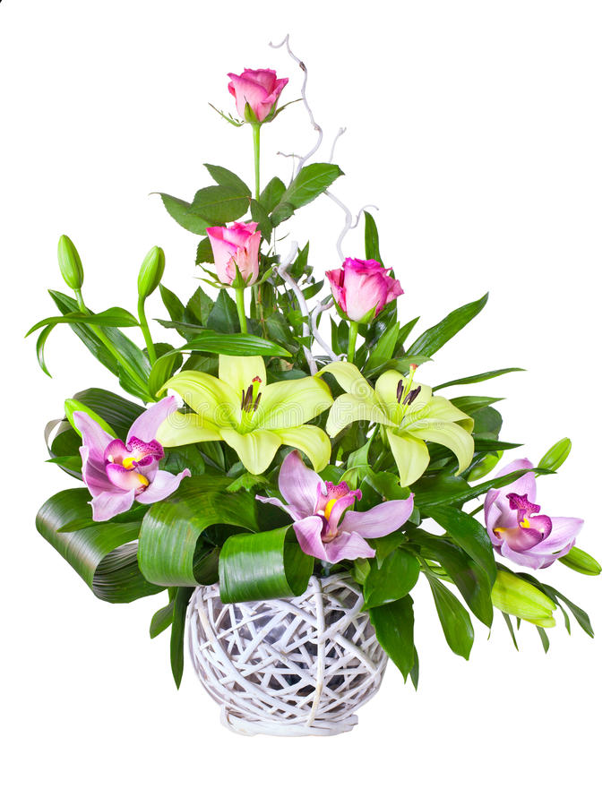 Helder bloemboeket in mand royalty-vrije stock afbeeldingen