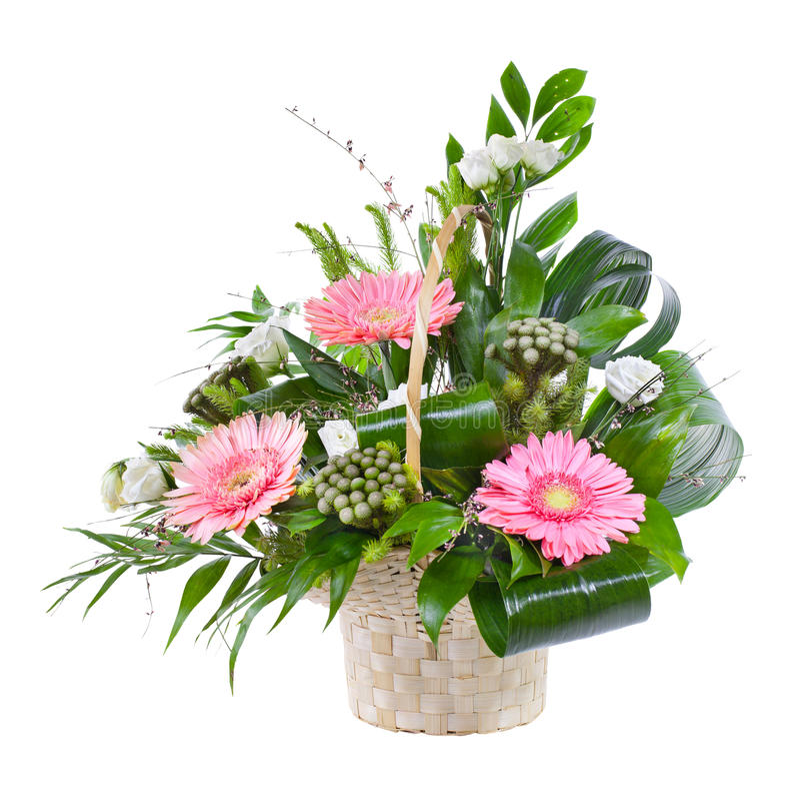 Helder bloemboeket in mand stock foto