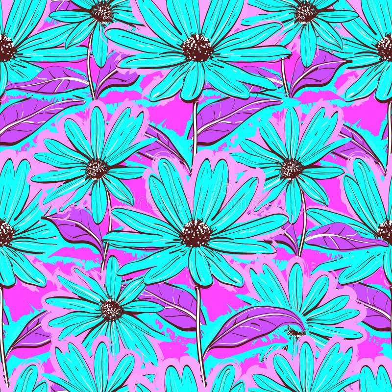Helder bloemen naadloos patroon, behangkamilles, Hand-drawn madeliefjes, sappige achtergrond vector illustratie