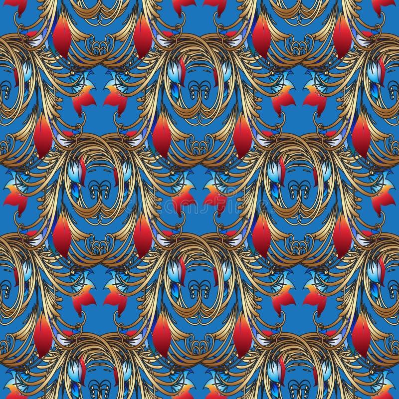 Helder bloemen vector naadloos patroon Lichtblauwe wijnoogst backgr royalty-vrije illustratie