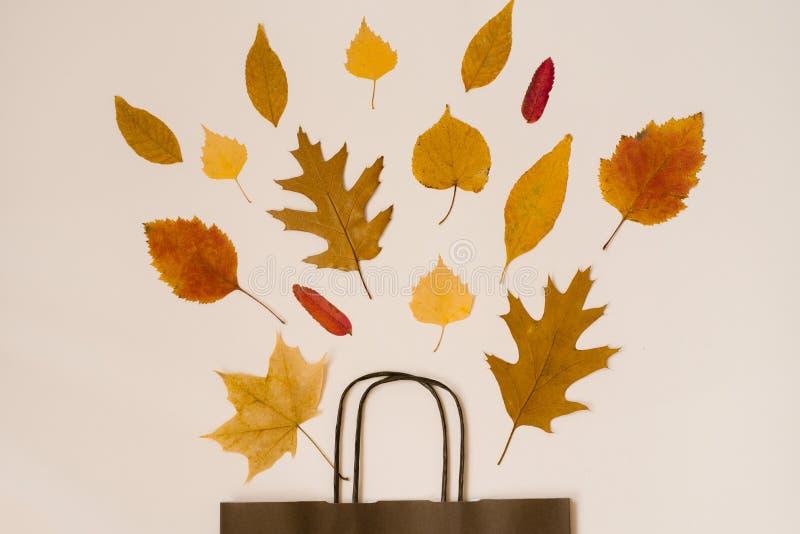 Helder boeket van de herfst gevallen bladeren in een zak van het gift pakpapier De seizoengebonden herfst sale De ruimte van het  stock foto's