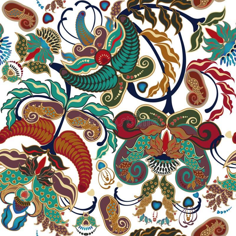 Helder bont bloemen naadloos patroon op witte achtergrond stock illustratie