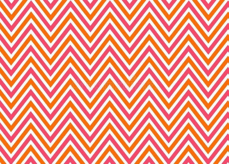 Helder chevron rood, oranje en wit patroon stock illustratie