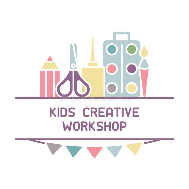 Helder concept creatieve workshop voor kinderenembleem stock illustratie