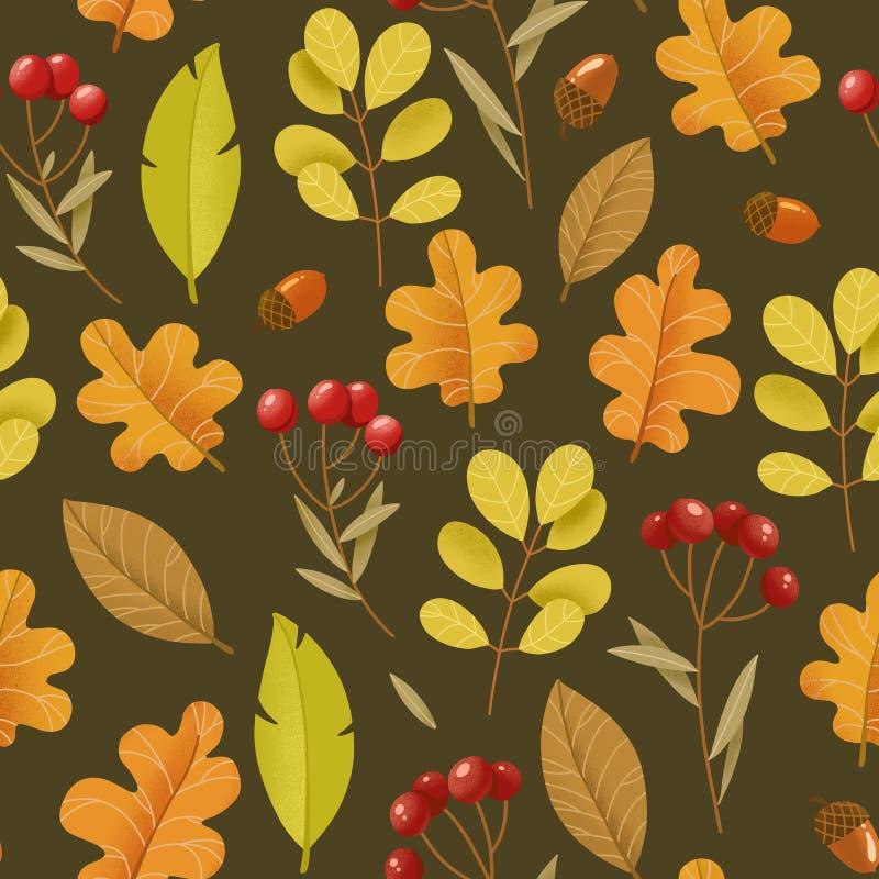 Helder de herfst naadloos patroon Bladeren en rode bessen op donkere B stock illustratie