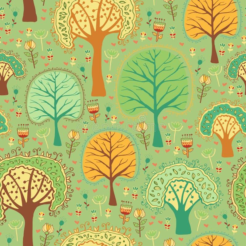 Helder de lente naadloos patroon van een groen bos vector illustratie