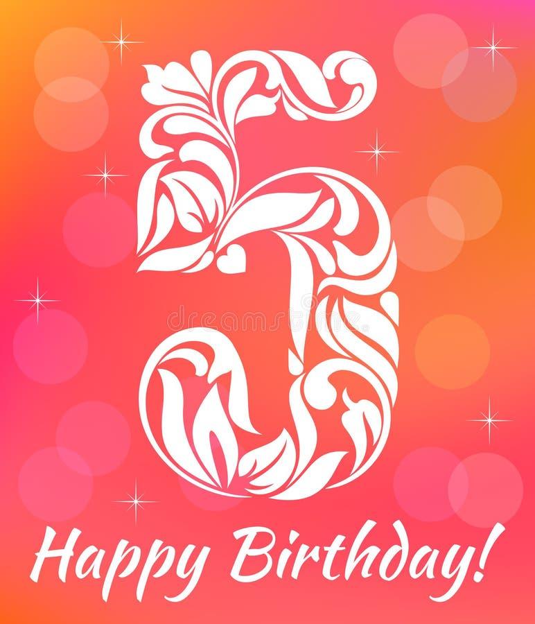 Helder de Uitnodigingsmalplaatje van de Groetkaart Vierend 5 jaar verjaardags Decoratieve doopvont vector illustratie