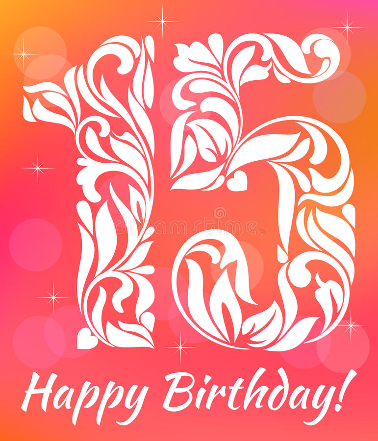 Helder de Uitnodigingsmalplaatje van de Groetkaart Vierend 15 jaar verjaardags Decoratieve doopvont royalty-vrije illustratie