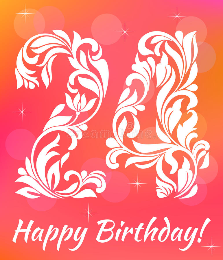 Helder de Uitnodigingsmalplaatje van de Groetkaart Vierend 24 jaar verjaardags Decoratieve Fon stock illustratie