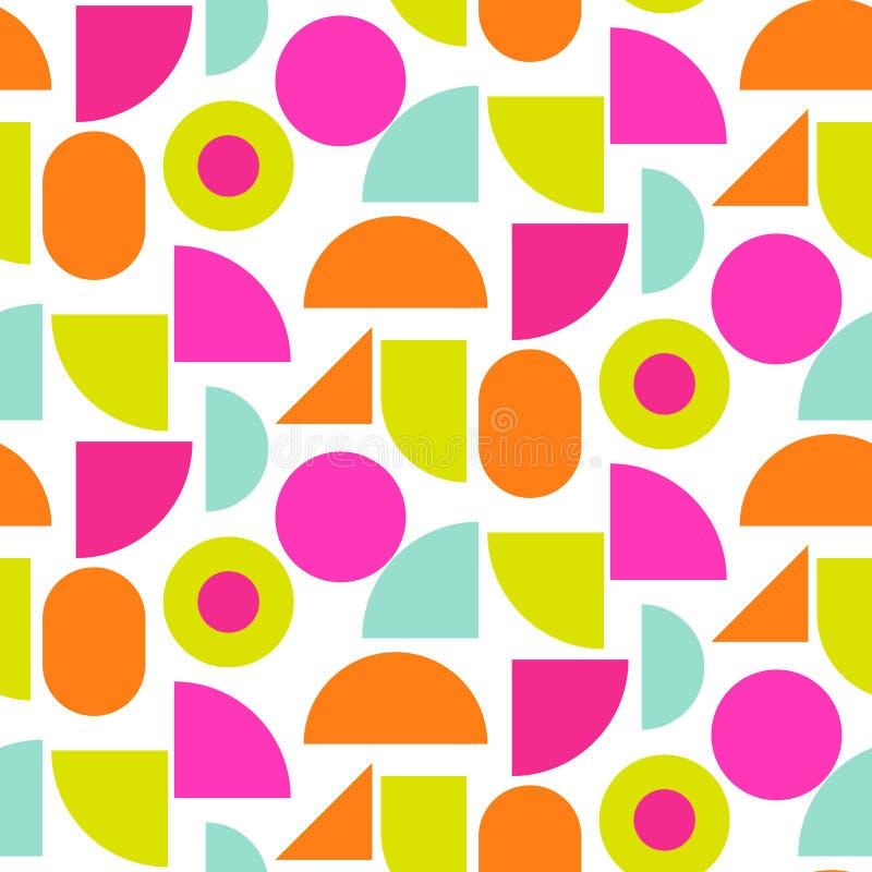 Helder de vormen naadloos vectorpatroon van het kleurenblok stock illustratie