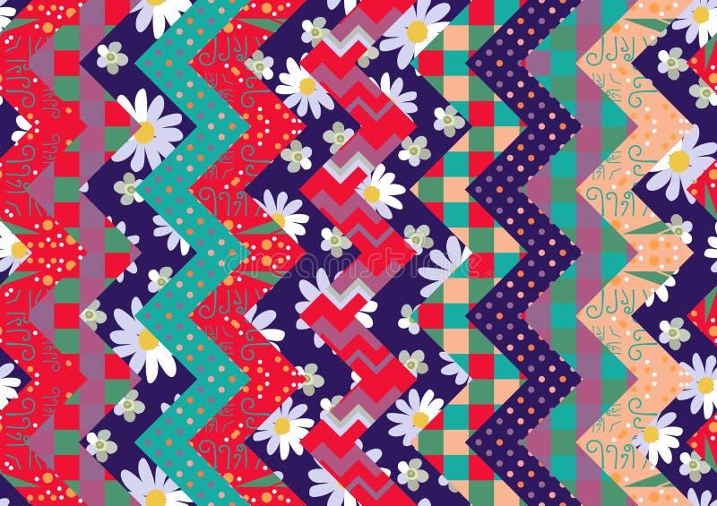 Helder de zomerlapwerk met bloemen en geometrisch ornament royalty-vrije illustratie