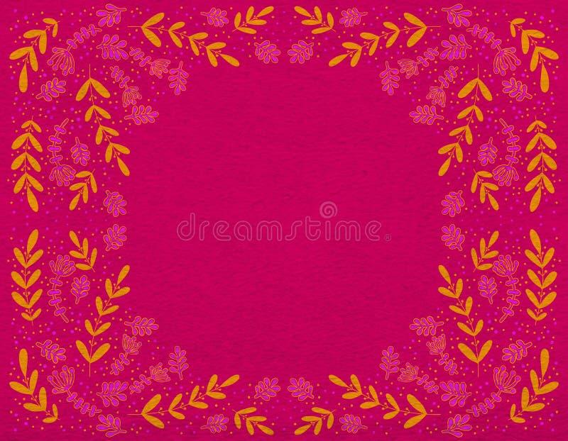 Helder decoratief ornament van oranje en roze takken op een karmozijnrode achtergrond royalty-vrije illustratie