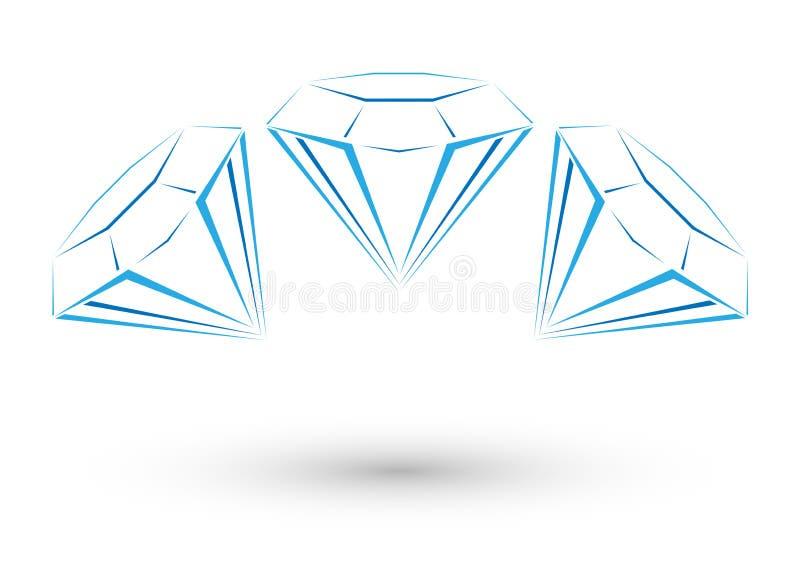 Helder diamantembleem stock illustratie