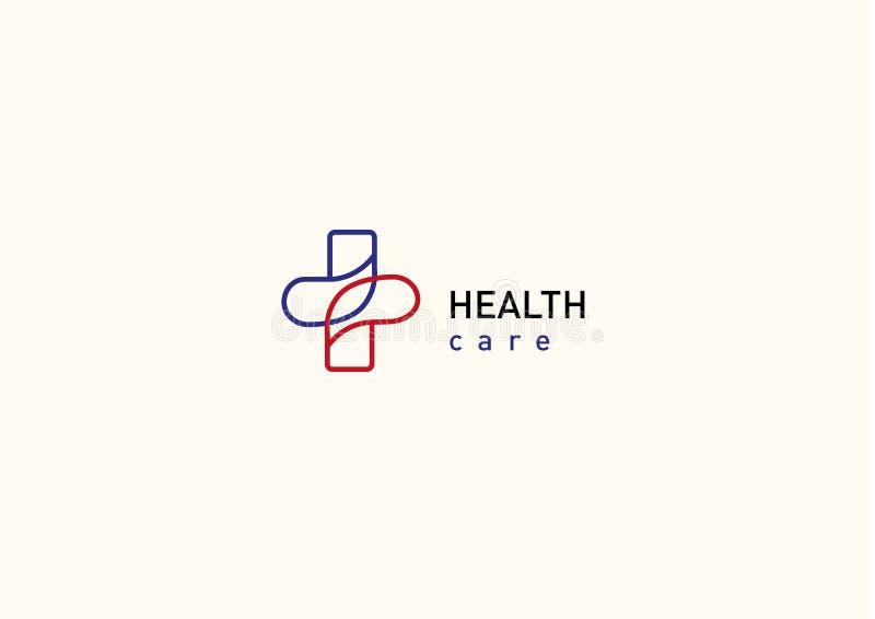 Helder embleem op geneeskunde en gezondheid vector illustratie