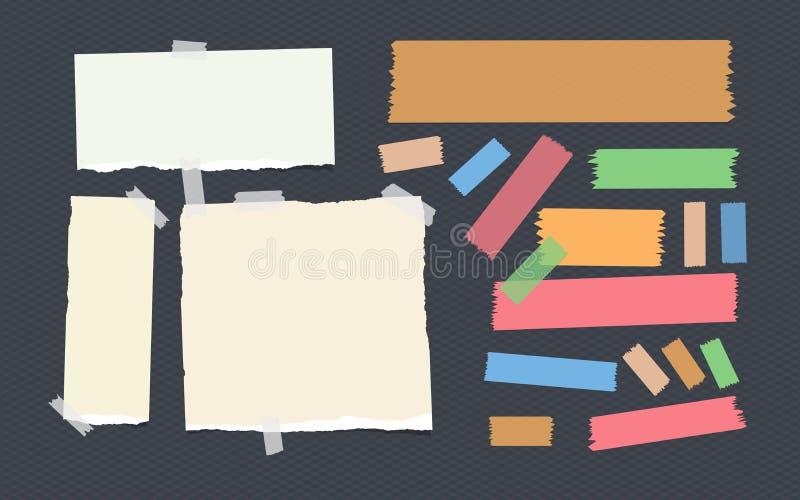 Helder en kleurrijk kleverig, zelfklevend afplakbandstroken en notitieboekje, voorbeeldenboek, notadocument dat op geregeld dark  royalty-vrije illustratie