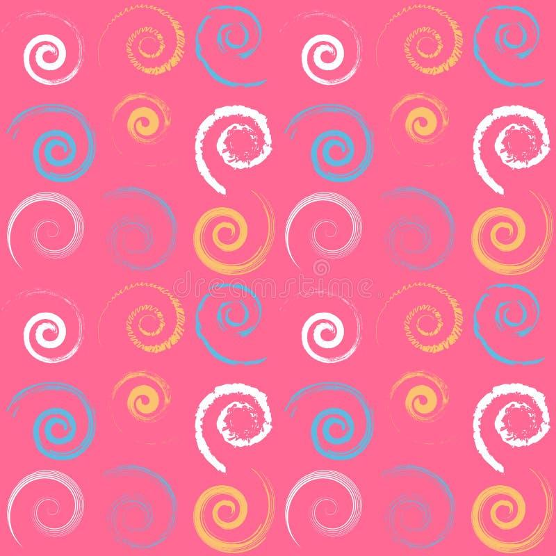 Helder en kleurrijk naadloos patroon met spiralen stock illustratie