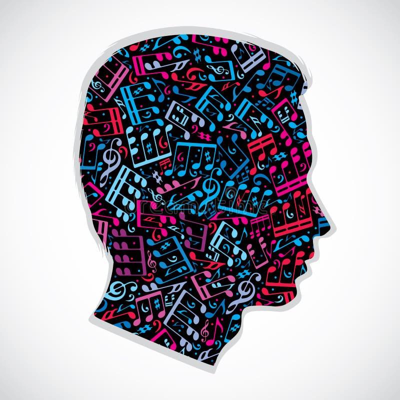 Helder expressief die silhouet van een hoofd met muzieknoten wordt gevuld royalty-vrije illustratie