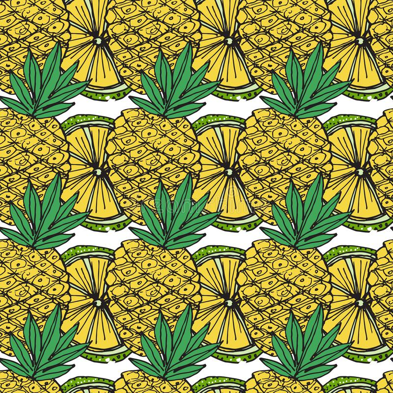 Helder Fruitpatroon met Citrusvruchten en Ananassen C royalty-vrije illustratie