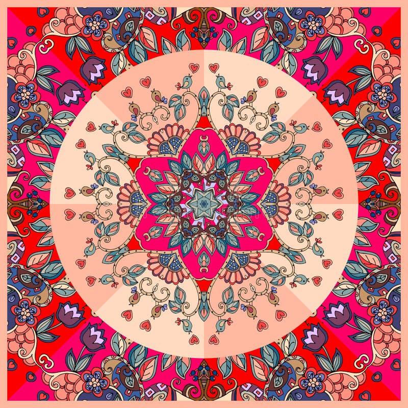 Helder gedetailleerd bloemenornament Kan voor kaarten, bandanadrukken, tafelkleden en servetten worden gebruikt royalty-vrije illustratie