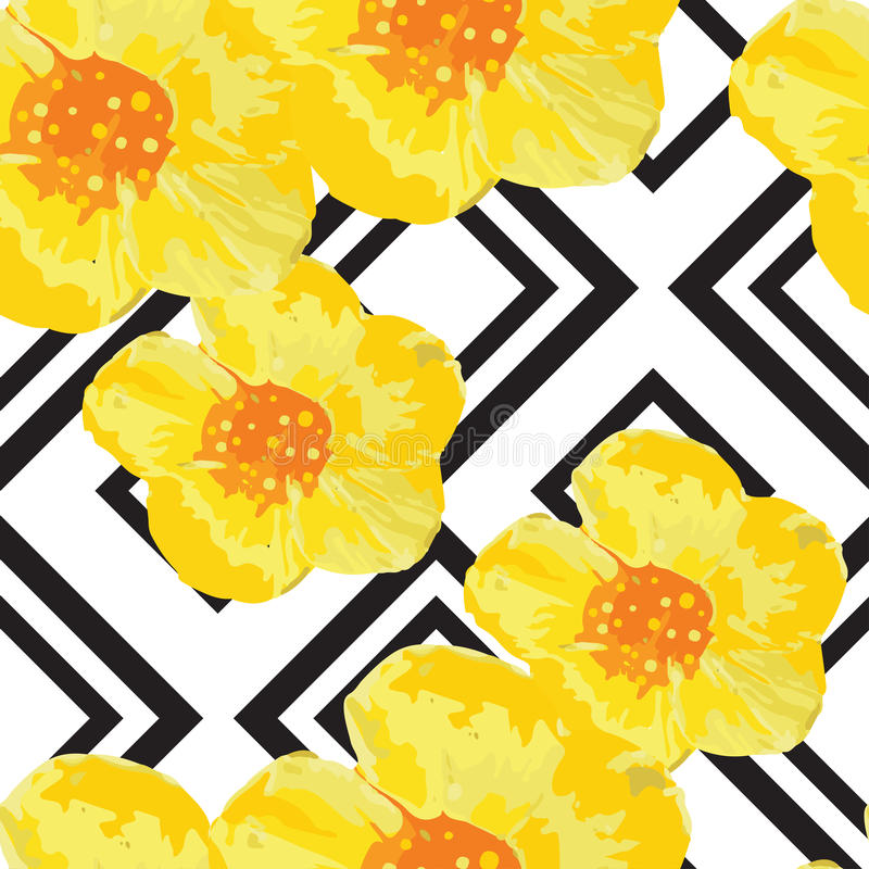 Helder Geel Bloemen Naadloos Patroon met Geometrisch Ornament Zwarte strepen Vector illustratie stock illustratie