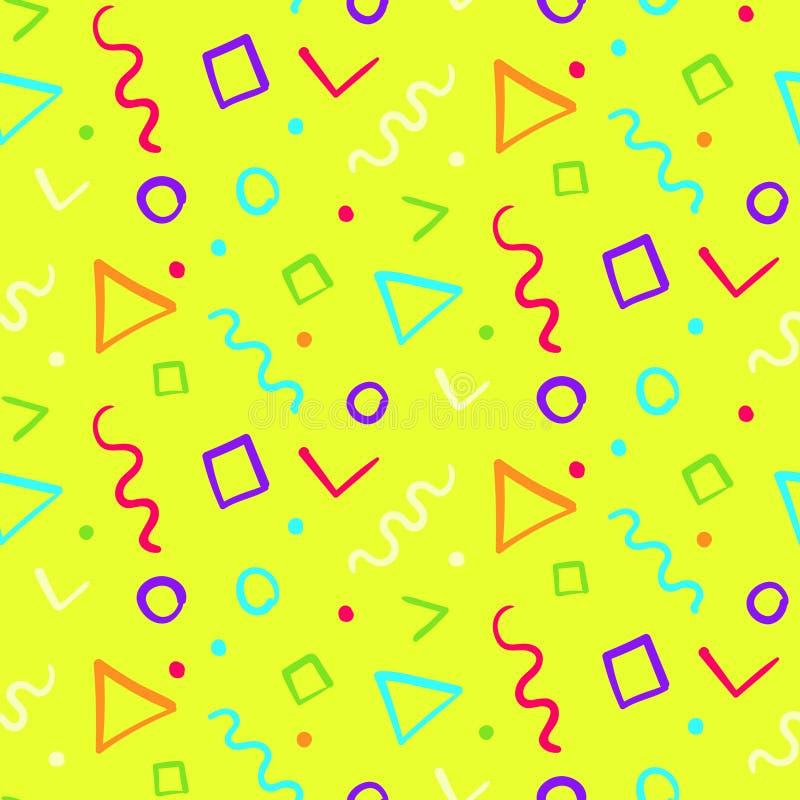 Helder geel patroon met kleurenvormen vector illustratie