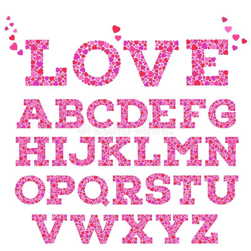 Helder gekleurd romantisch die alfabet met liefdeinschrijving van kleine levendige hartvormen wordt gemaakt in mozaïekstijl vector illustratie