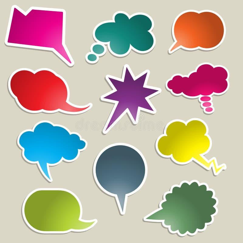 Helder gekleurde toespraakbellen stock illustratie